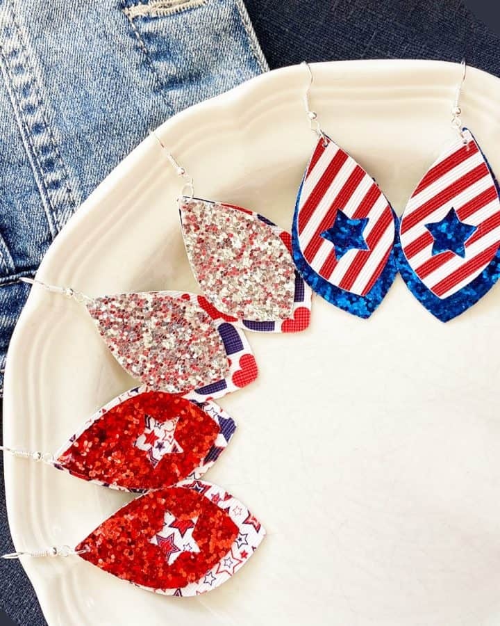 DIY Patriotic Earrings Made with a Cricut
