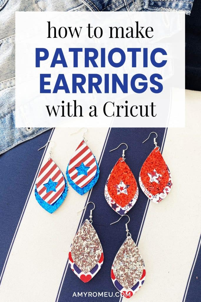red white and blue faux leather earrings