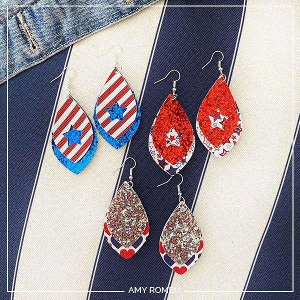 Patriotic Earrings Cricut DIY