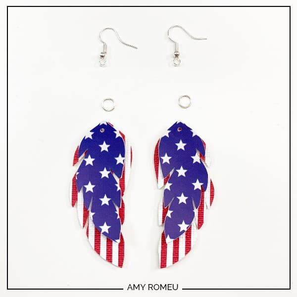 patriotic faux leather earrings with findings