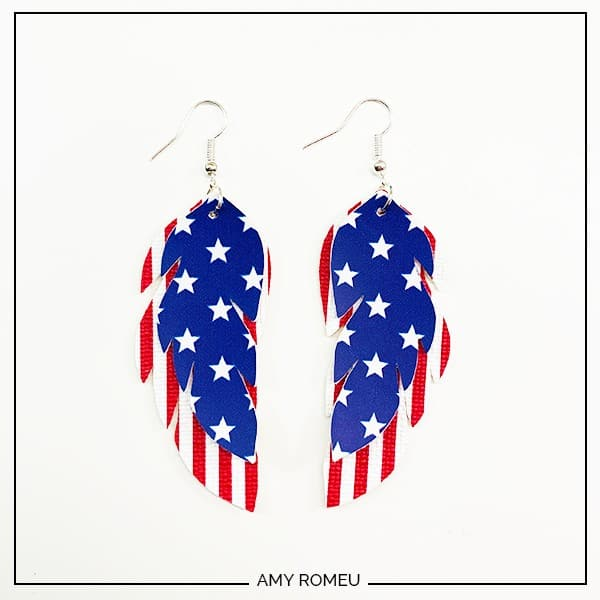 patriotic faux leather feather earrings