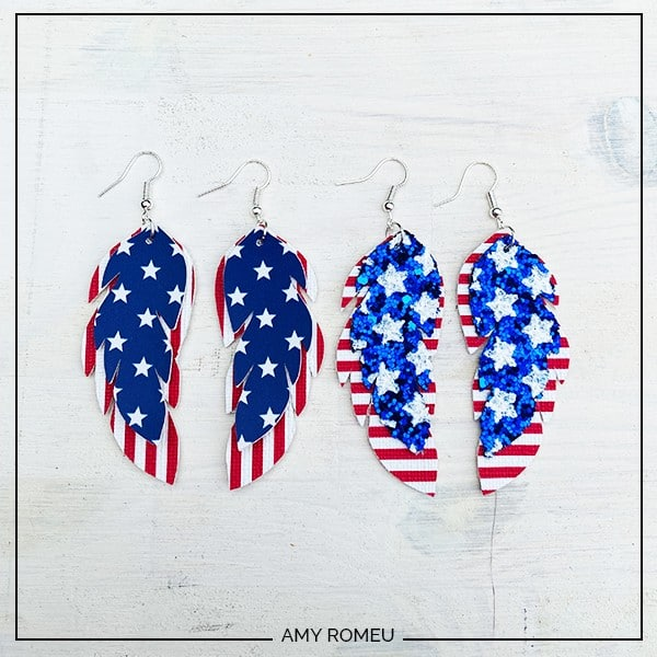stars and stripes feather earrings