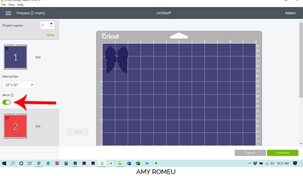 Cricut Design Space mat preview view