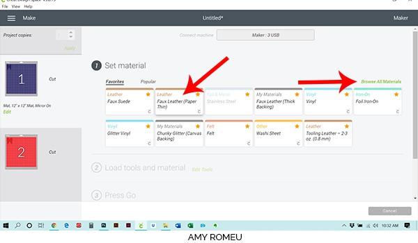 Cricut Design Space material selection screen