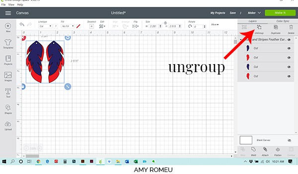 how to ungroup artwork in Cricut Design Space