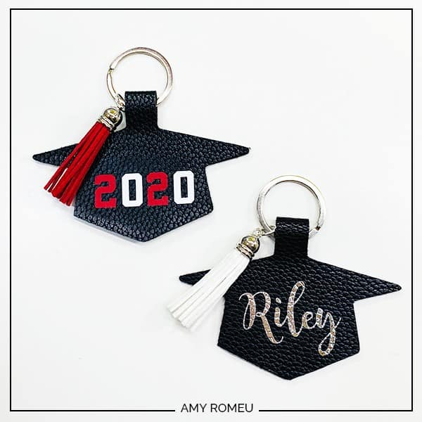 faux leather graduation keychains made from a Cricut