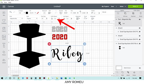 change letter spacing in Cricut Design Space