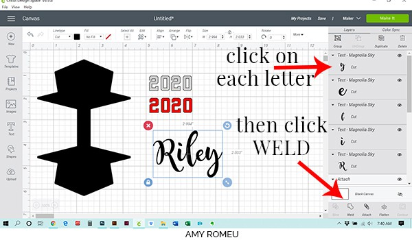 weld text in Cricut Design Space