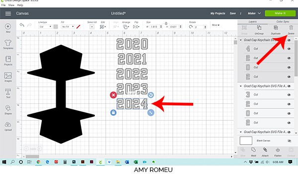 Cricut Design Space layers panel delete