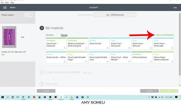 cricut design space material selection screenshot