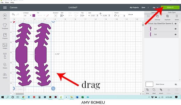 ear saver shapes on cricut design space canvas screenshot