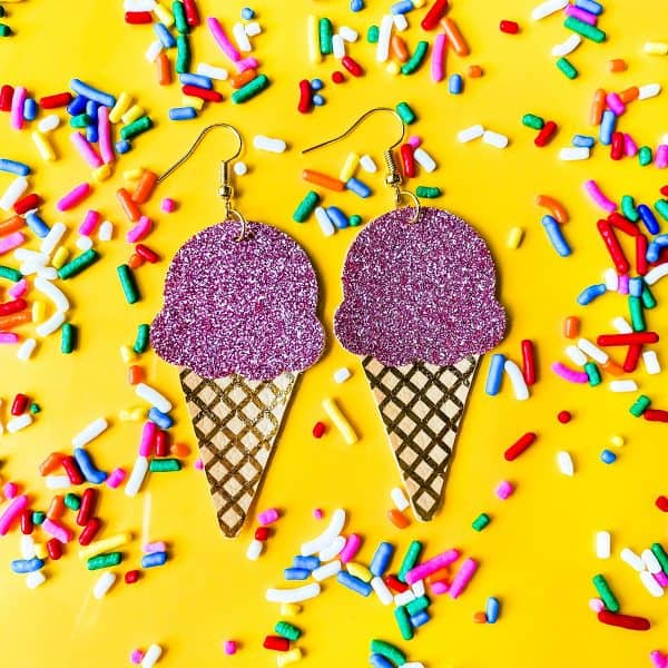ice cream cone faux leather earrings