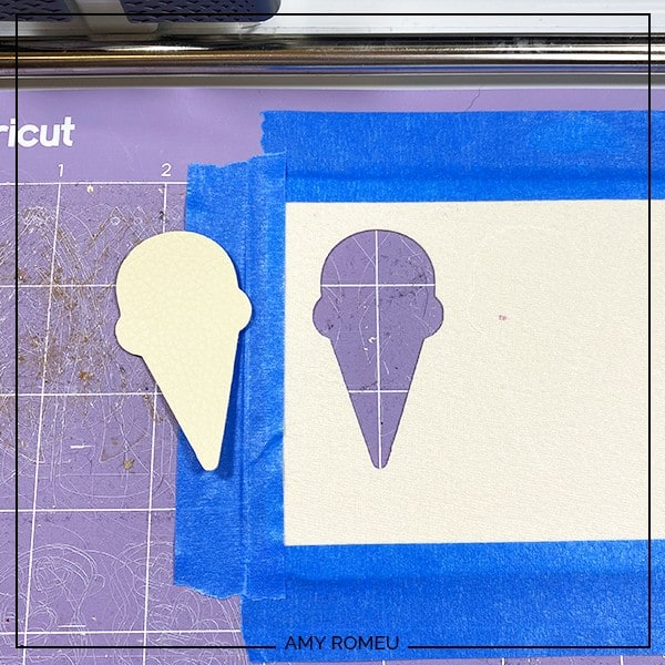 faux leather ice cream cone shapes removed from cricut cutting mat