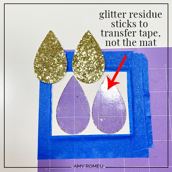 using transfer tape to protect cricut cutting mat from glitter