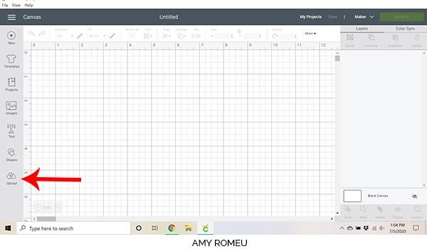 cricut design space screenshot showing blank canvas