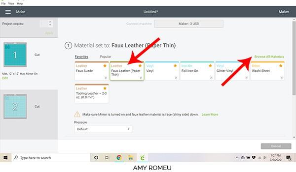 cricut design space screenshot showing material selection screen