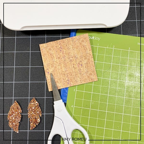 cutting printed cork faux leather for making earrings with the cricut joy
