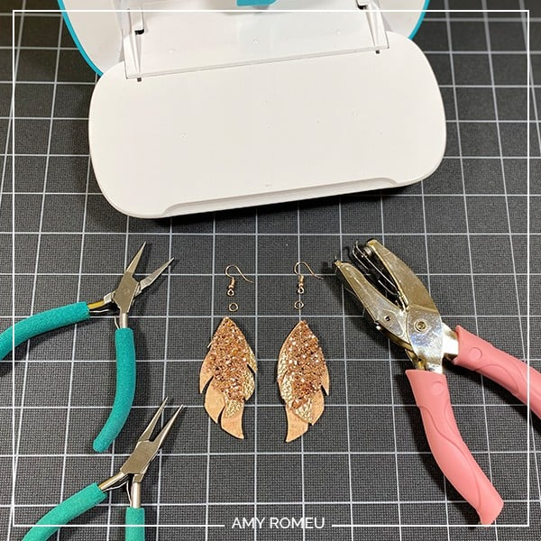tools and materials needed to put earring hooks on Cricut Joy faux leather earrings