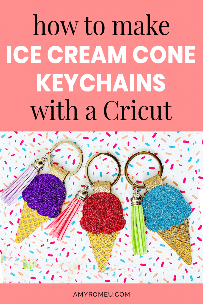 3 Cricut Ice Cream Cone Faux Leather Keychains