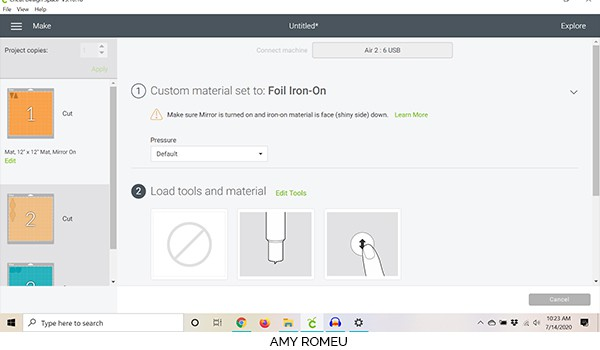 cricut design space material selection screenshot