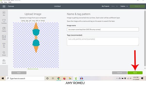 cricut design space upload screen ice cream cone keychain