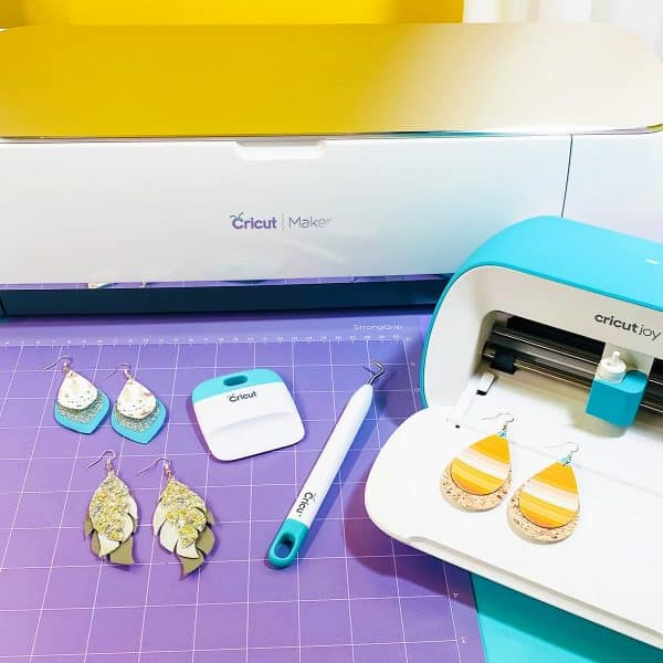 Cricut cutting machines and faux leather earring materials