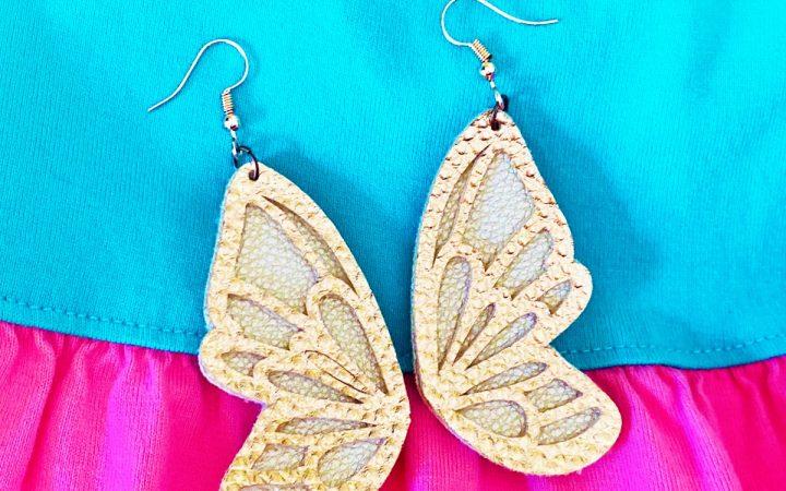Cricut Faux Leather Butterfly Wing Earrings DIY