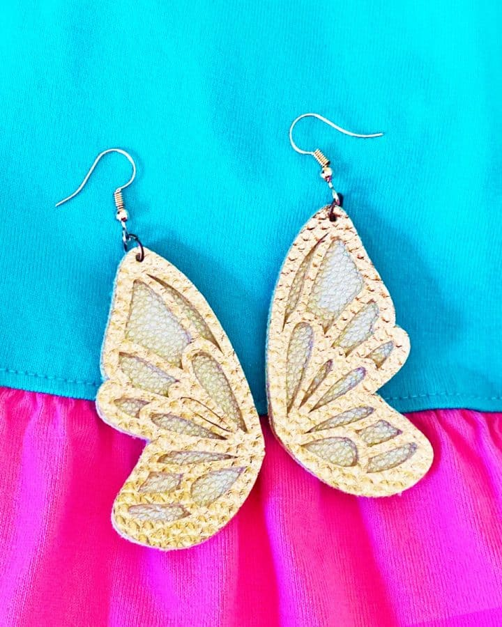 Cricut Faux Leather Butterfly Wing Earrings DIY