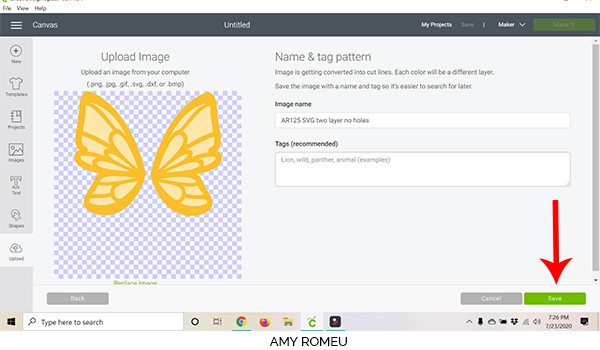 cricut design space screenshot preview of SVG file that will upload