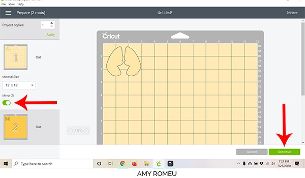 cricut design space screenshot first mat preview