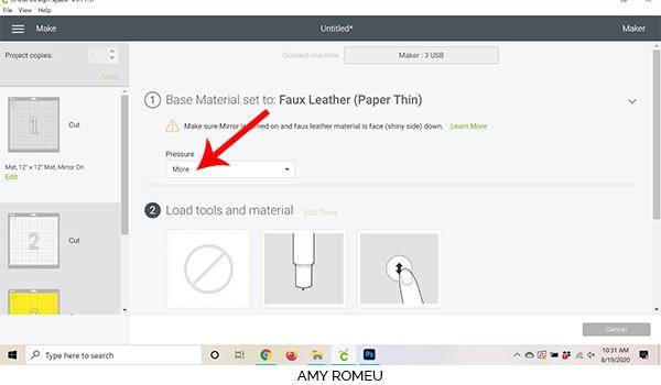 cricut design space changing cut pressure in material settings screen