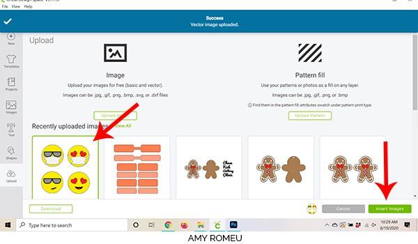 Cricut Design Space screenshot uploading process