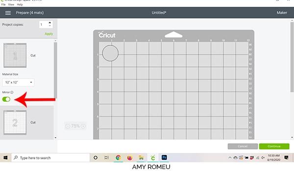Cricut Design Space screenshot mirror cutting mats
