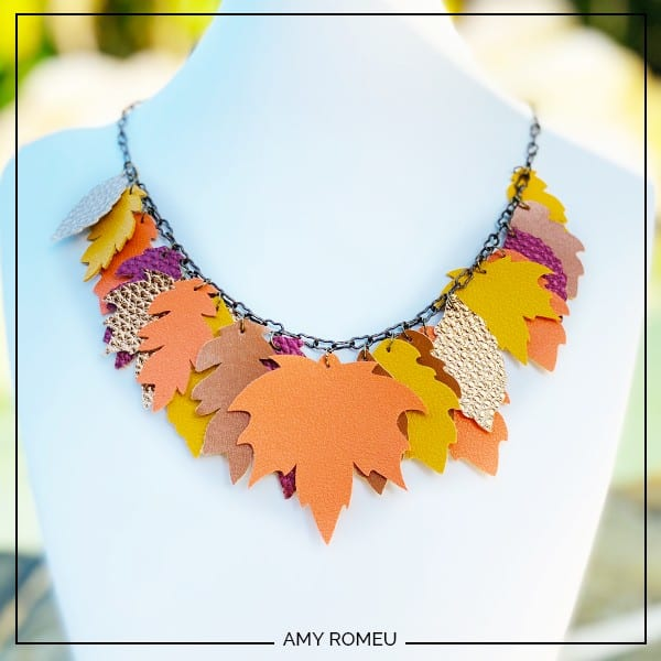 fall leaves necklace made from faux leather and a Cricut