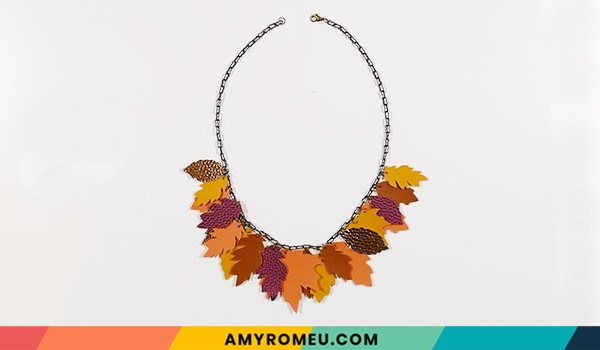 completed fall leaves necklace