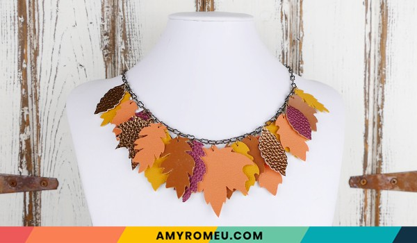 faux leather fall leaves necklace