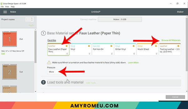 cricut design space choosing faux leather paper thin