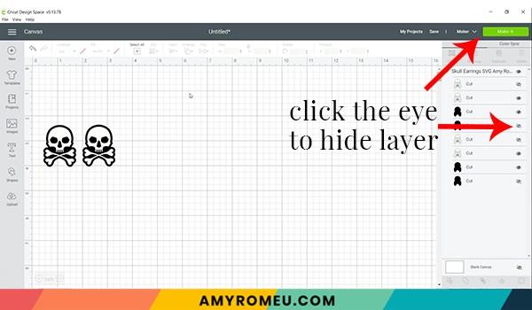 hiding layers in cricut design space