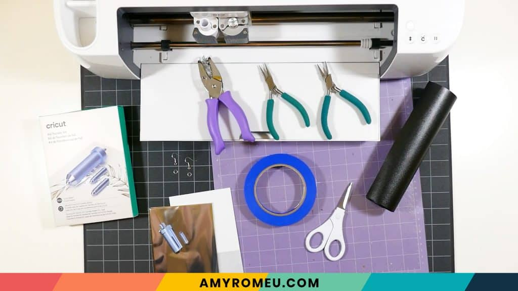 materials to make foiled leather earrings with the Cricut Foil Transfer Kit