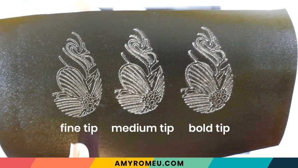different foil tips on faux leather earrings