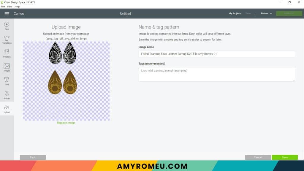Cricut Design Space upload screen