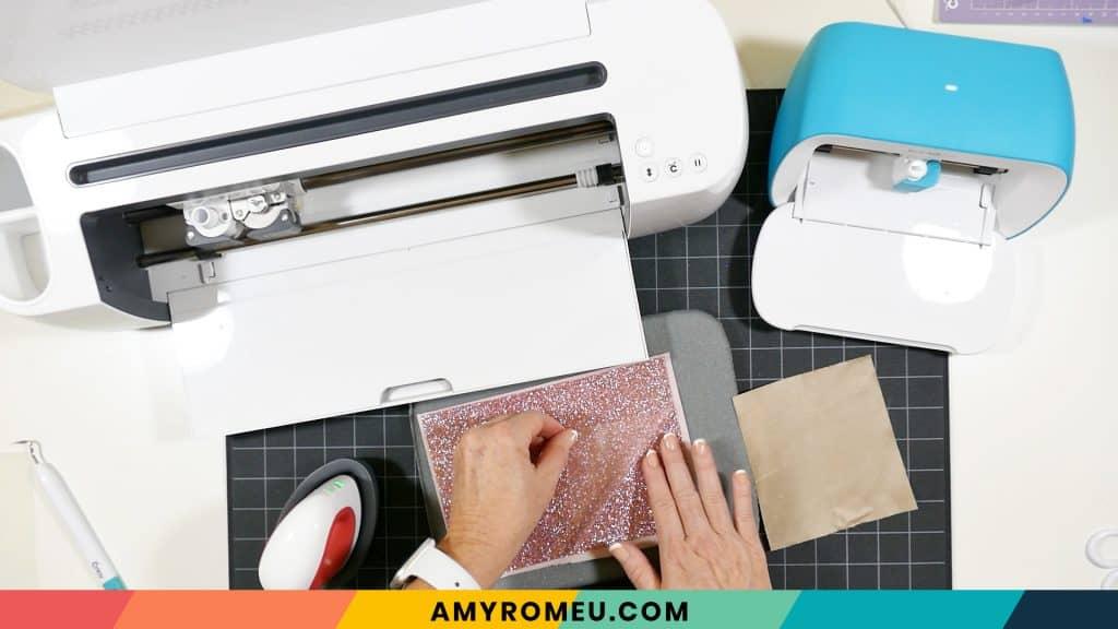 peeling cover sheet off glitter heat transfer vinyl