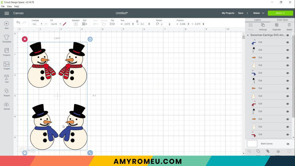 snowman earrings SVG on Cricut Design Space canvas