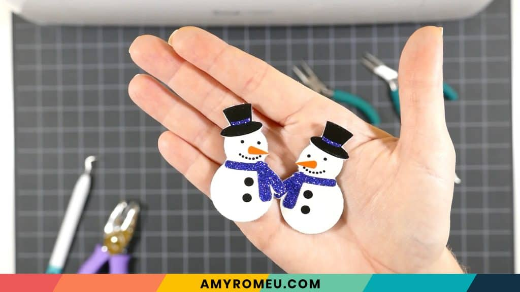 snowman earrings after heat pressing