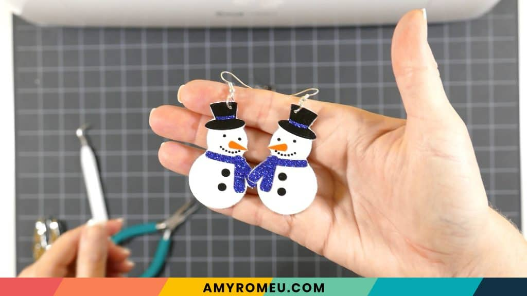 finished snowman earrings