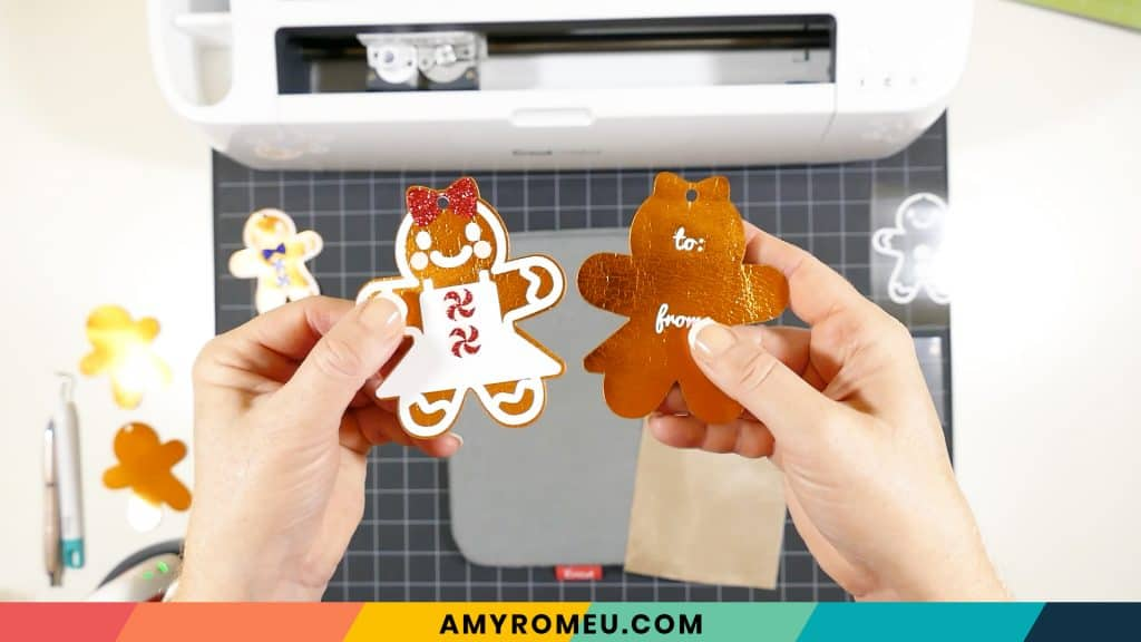 pressed cardstock gingerbread man gift tags