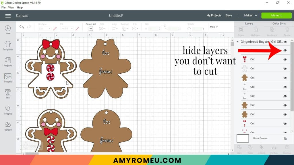 gingerbread tags on Design Space canvas