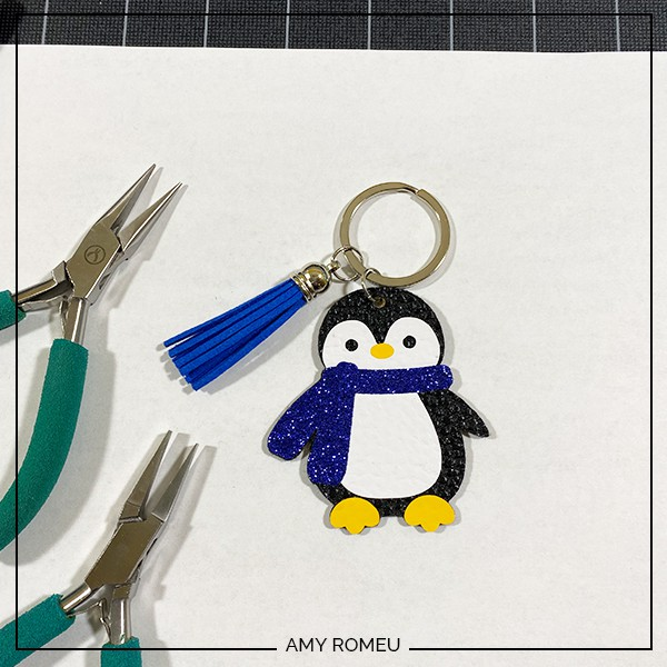 completed penguin keychain