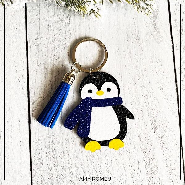 DIY Penguin Keychain with Faux Leather & a Cricut