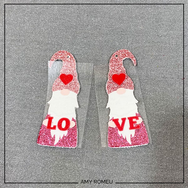 heat pressing Valentine's Day Gnome Earrings
